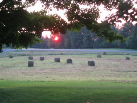 Sunrise after haying on Moore's Hill